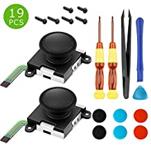 Analog Joystick for Left Right Joy Con Controller,Replacement for Nintendo Switch Sony PSP Joycon ThumbStick Controller - Professional NS Repair Tool Set with Tweezer Screwdriver Pry Tool(19 in 1)