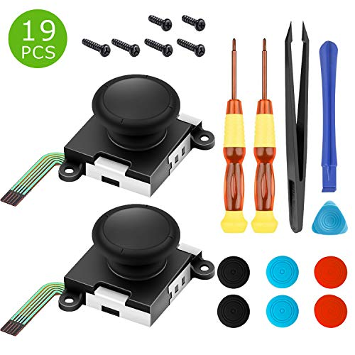 (Two Pack Analog 3D Joy con Joystick Replacement for Nintendo Switch,joycon Switch joysticks compatiable with Left joycon Right Switch Joy con Controller Full NS Repair Tool Set(19 in)