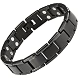 Willis Judd Mens Black Titanium Double Row Magnetic Bracelet In Black Velvet Gift Box + Free Link Removal Tool