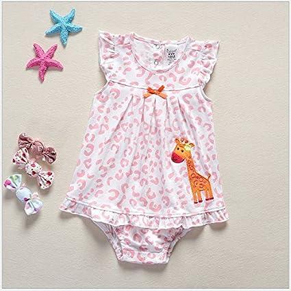 Bebé infantil niños niña batas verano mameluco Enterizo jirafa lindo manga corta trajes Braga Clothes(