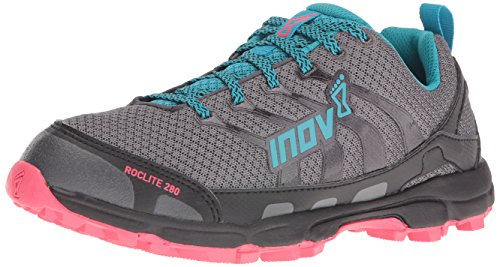 Inov-8 Women's Roclite 280 Trail Runner, Dark Green/Teal/Pink, 10 E US