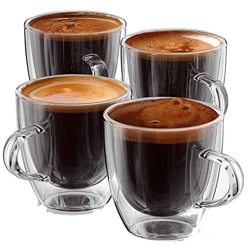 Stone & Mill Double Wall Insulated Glass Espresso Mugs, AM-04 Coffee Glasses with Handle Gift Box Set of 4, 5 Ounce (Stones Milk Glass)