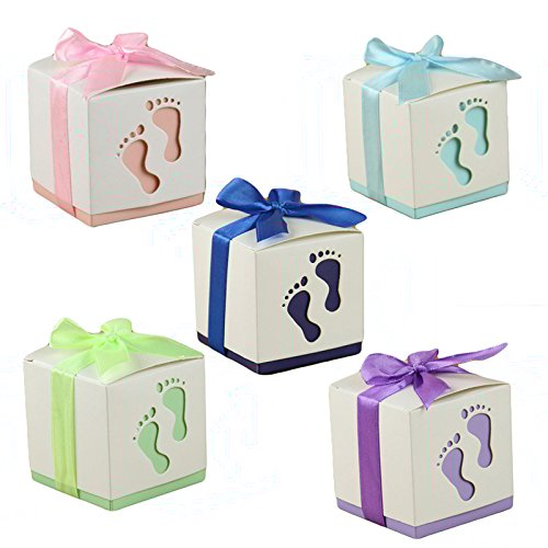 Floratek 50 PCS Baby Shower Favors Cute Baby Footprint Design Chocolate Packaging Box Candy Box Gift Box for Kids Birthday Baby Shower Guests Wedding Party Supplies -