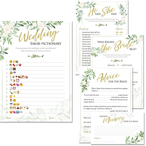 Bridal Shower Games | Set of 5 Games | 50 Sheets Each | Floral Rustic Greenery Themed | Includes Marriage Advice Cards, Emoji Game, and Favorite Memory by Lemon Pop Paperie