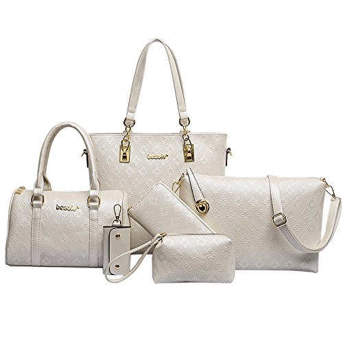 Women Handbag,Women Bag, KINGH Vintage Argyle PU Leather Tote Clutch Purse 6 PCS Set Bag 090 White