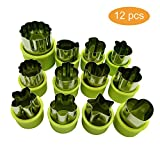 fruit shapes - Vegetable Cutters Shapes Set, 12pcs Stainless Steel Mini Cookie Cutters, Vegetable Cutter and Fruit Mold Cheese Presses Cute Cartoon Animals Flower Star Shape Heart Stamps Decorating Tools for Kids