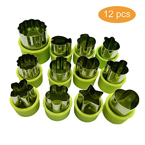 apes Set, 12pcs Stainless Steel Mini Cookie Cutters, Vegetable Cutter and Fruit Mold Cheese Presses Cute Cartoon Animals Flower Star Shape Heart Stamps Decorating Tools for Kids (Stainless Steel Cheese Press)