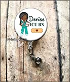 Nurse(African-American).Retractable badge holder, nurse gift, ob, L&D, id holder, reel, RN, LPN, CNA Personalized Christmas Gift Midwest Charm