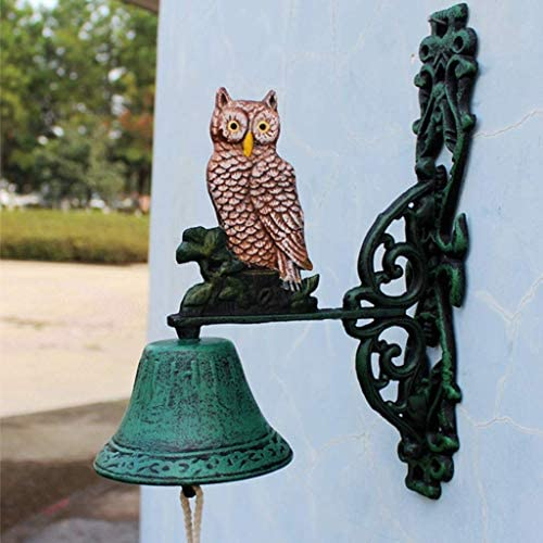 風鈴フクロウ鋳鉄ドアベル庭の装飾レトロ風チャイム壁時計装飾工芸品18x18x23cm鋳鉄ドアベル
