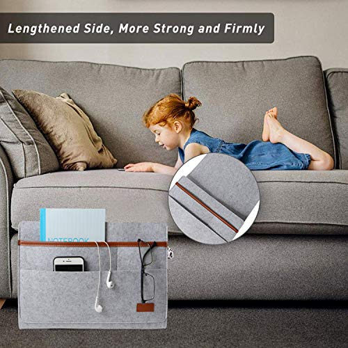 MEYUEWAL Felt Bedside Caddy, Bedside Hanging Storage Organizer with Anti-Slip Velcro for Sorting Magazine, Tablet, Phone, Earphone, Remote, Glasses, Pen - Dark Grey (Light gray)