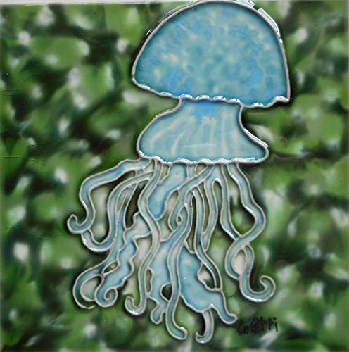 Tile Craft Jellyfish Hand Painted Ceramic Art Tile 6 x 6 inches with Easel Back