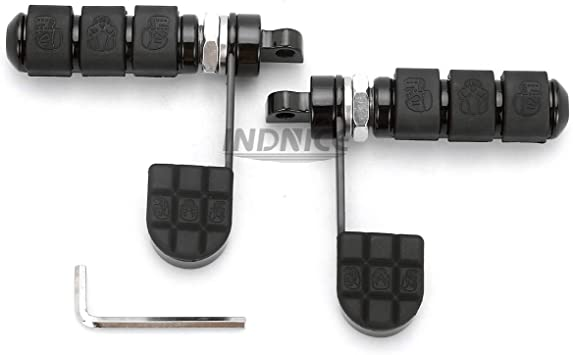 Black Anti-Vibe Foot Pegs with Heel Rest For Harley DYNA FXDF FAT BOB FXDC FXDX Softail