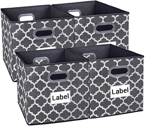 Homyfort Cloth Storage Bins,Foldable Basket Box Cubes containers Organizer for Closet Shelves Toys Clothes Set of 4 Gray with Lantern Pattern 13''x13''x13'' (Bins Storage Set Folding)