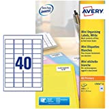 Avery L7654-25 Self-Adhesive Mini Organising/Return Address Labels, 40 Labels Per A4 Sheet