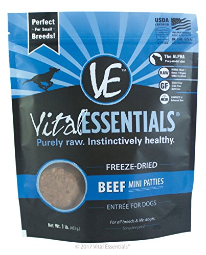 Vital Essentials Freeze-Dried Beef Mini Patties Grain Free Limited Ingredient Dog Entrée, 1 Pound Bag