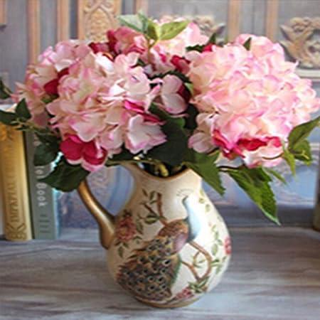 Sswq Single Branch Hydrangea Silk Flowers Home Wedding Party Office