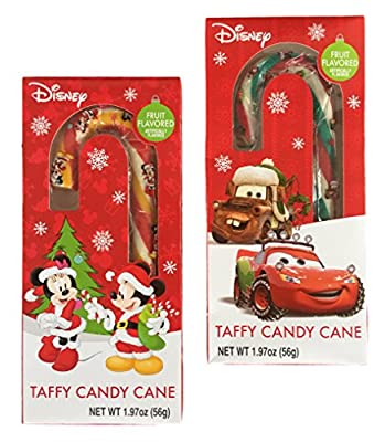 Mickey & Minnie Mouse & Cars Disney Jumbo Chewy Taffy Candy Cane Fruity Flavor