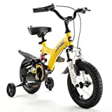 Royalbaby Unisex Youth Flybear-Dual Suspension Girl's Boy's Freestyle Kids Children Child Bike Bicycle, Yellow, 12'