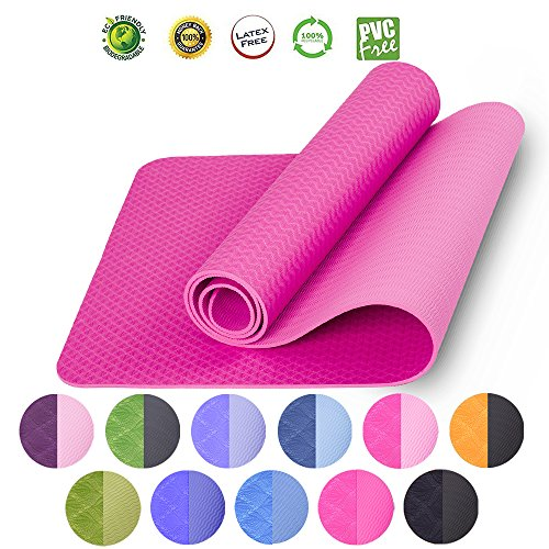 LOVE'S Yoga Mat for Pilates Hot Yoga Exercise Mat for Gym Fitness Workout Non Slip TPE Eco Friendly Pads 1/14 Thick With Carrying - Knee Construction Pads Pink