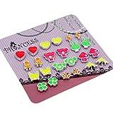 Apparel : Pack of 12 Color Cute Magnetic Stud Earrings for Girls Kids