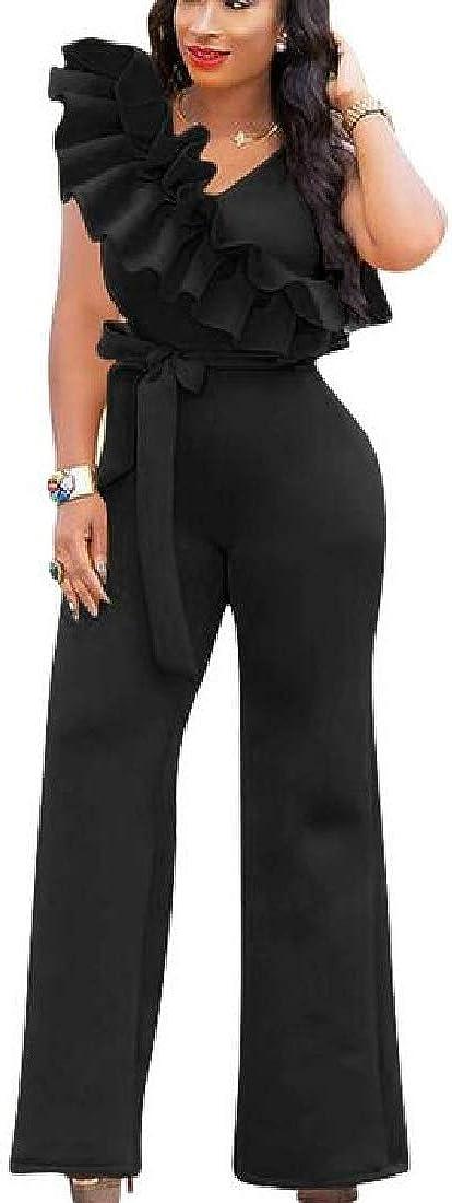 Fubotevic Womens Basic Sleeveless Belted Club Wide Leg Ruffle Long Jumpsuits