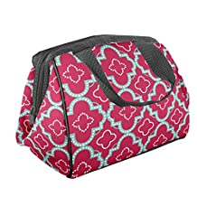 Fit & Fresh Fit and Fresh Women's Charlotte Insulated Lunch Bag with Zipper Closure and Ice Pack, Ideal Size for Work or School, Pink Aqua Dot Tile