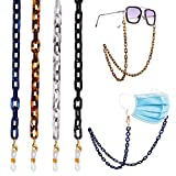 17KM 4 Pcs Mask and Glasses Chain Lanyards for Women Unique Anti-Lost Acetate Face Mask Chain Holder with Clips Around Neck for Men Adults Girls Kids
