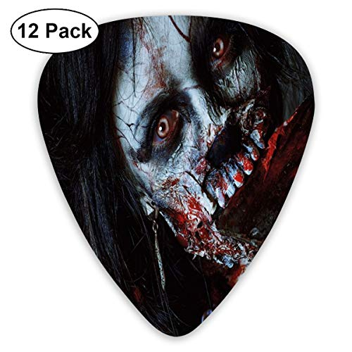 Guitar Picks 12-Pack,Scary Dead Woman With Bloody Axe Evil Fantasy Gothic Mystery Halloween Picture