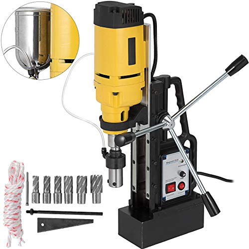 Mophorn Magnetic Drill 1350W Magnetic Drill Press with 1Inch Boring Diameter Annular Cutter Machine 3372 LBS 6pcs HSS Annular Cutter Bits
