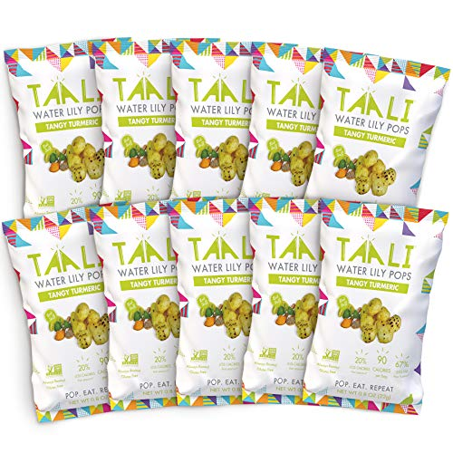 Taali Tangy Turmeric Water Lily Pops (10-Pack) - Taste with Benefits | Protein-Rich Roasted Snack | Non GMO Verified | Individual 0.8 oz Bags