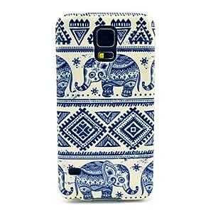 Patrón de elefante Alfombra TPU cubierta suave para Samsung Galaxy i9600 S5