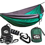 #1 Premium Double Camping Hammock By TNH Outdoors - Premium Quality Hammock - Strongest 9ft Straps With 30 Multi Hitch Points - Larger 10x6.6ft Hammock - Lifetime Warranty