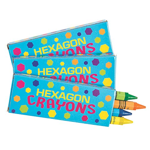 Fun Express - Hexagon Crayons (4pc Box) - Basic Supplies - Drawing - Crayons - 12 Pieces