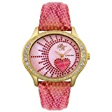 Paris Hilton Women's PH1353OVAL02D Oval Hearts Collection White/Red Crystal Pink Leather Watch