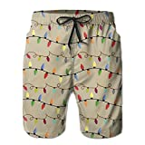 Mens Christmas Lights Quickly Drying Lightweight Fashion Board Shorts Swim Trunks XL