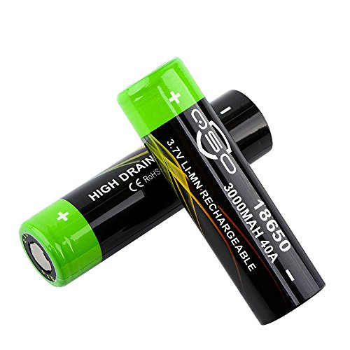 18650 Battery 3.7V 3000mAh Lithium Li-ion Rechargeable Batteries Flat Top(2 Pieces)