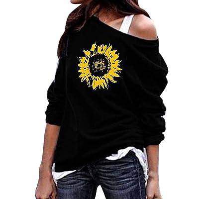 ღLILICATღ Blusa Mujer, Blusas Camisetas de Ropa de Mujer Suéter Jersey Camisas Manga Ajustable Blusas Pullover Tops Mujer Estampado de Girasol Cuello Redondo Manga Larga Casual Suelto Blusa de Mujer: Deportes y