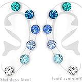 Stainless Steel (Set of 6 Pairs) 5mm Assorted Blue Crystal Stud Earrings 30499