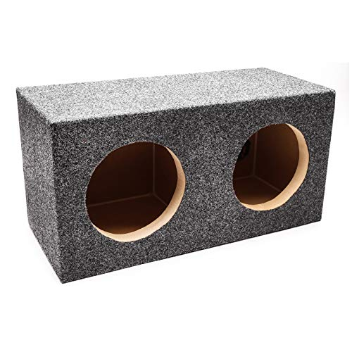"Skar Audio Dual 6.5"" Universal Fit Sealed Subwoofer Enclosure with 1"" MDF Heavy Duty Front Baffle - Charcoal Carpet"