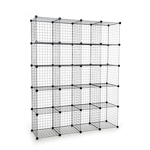 UNICOO - Multi Use DIY 20 Cube Wire Grid Organizer,Wardrobe Organizer, Bookcase, Book Shelf, Storage Organizer, Wardrobe Closet - (Black Wire) -
