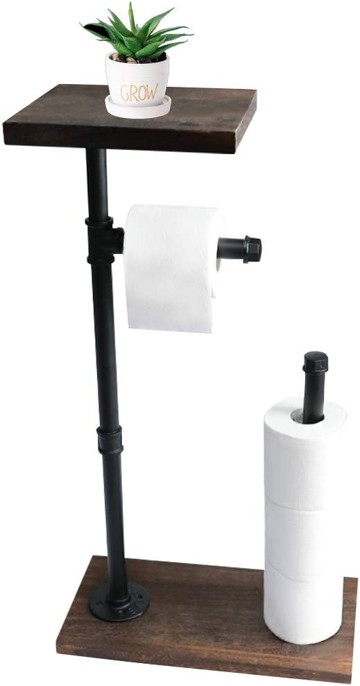 Toilet Paper Holder Stand Free Standing Toilet Paper Dispenser with Shelf Cast Iron Pipe with Wooden Base, Industrial Bathroom Organizer with Reserve Storage