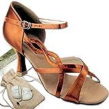 Women's Ballroom Dance Shoes Tango Wedding Salsa Dance Shoes Dark Tan Satin CD2088EB Comfortable - Very Fine 3'' Heel 9.5 M US [Bundle of 5]