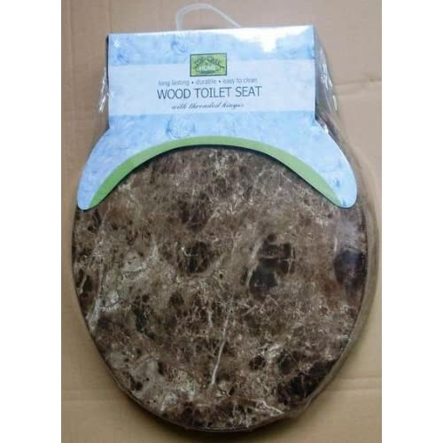 "outlet Top Care 17"" Brown Marble Toilet Seat"