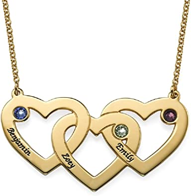Three Intertwined Hearts Birthstone Name Necklace in Sterling Silver