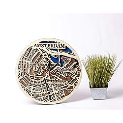 Amsterdam 12 Inch Wooden Clock Netherlands Wooden Decor City Art Amsterdam Wooden Wall Clock Birthday Gift For Man Wooden Wall Clock With Amsterdam Map Design 3D Wooden Map Clock Xmas Gift For Brother