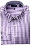 Nautica Mens Classic Fit Performance Gingham Spread Collar Dress Shirt, Purple