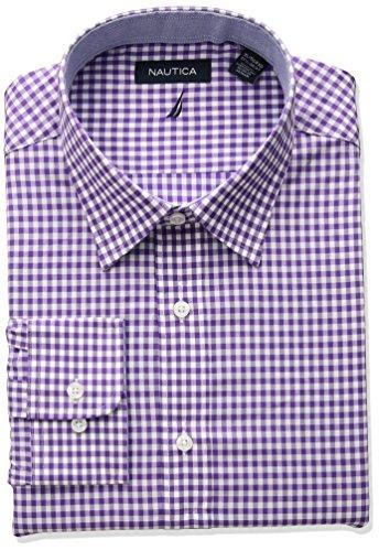 Nautica Men's Classic Fit Performance Gingham Spread Collar Dress Shirt, Purple, 16.5