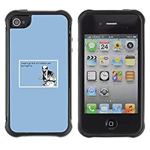 Suave TPU Caso Carcasa de Caucho Funda para Apple Iphone 4 / 4S / Shallow Girl Quote Funny Big Tits Man Love Life / STRONG