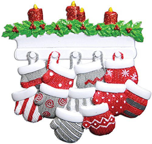 Personalized Mitten Family of 11 Christmas Tree Ornament 2019 - Knit Winter Gloves Stockings Mantle Candle Parent Children Friend Glitter Gift Tradition First Year - Free Customization (Eleven)