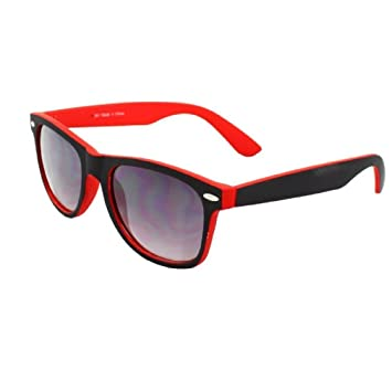 250e945c94 Tone Red   Black Classic Geek Style retro 80 s Fashion Sunglasses Smoked  Lenses Offe UV 400  Amazon.co.uk  Sports   Outdoors